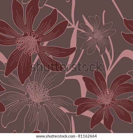 Vector seamless flowers background. - stock vector