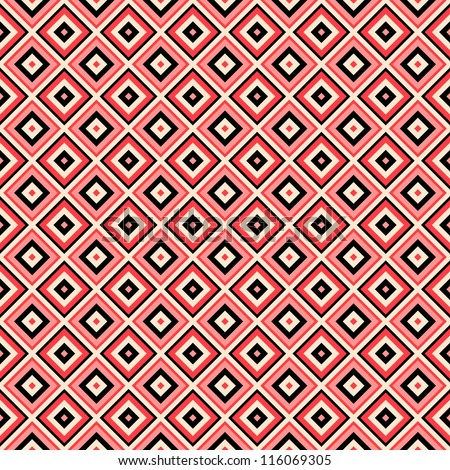 Vector seamless geometric pattern red and black colors