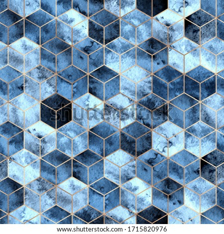 Vector seamless geometric pattern with gold foil outline and deep blue watercolor polygons. Modern hexagon tile abstract background