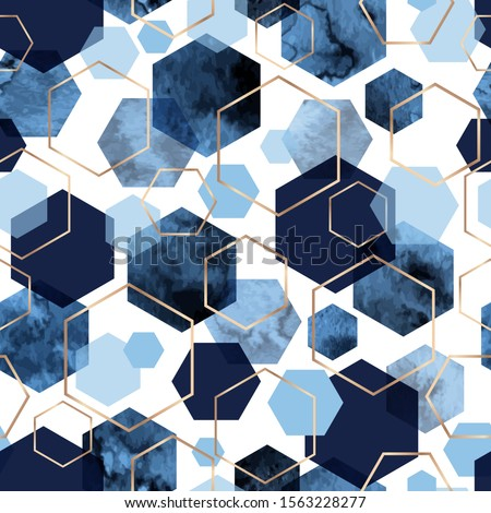 Vector seamless geometric pattern with gold foil outline and deep blue watercolor polygons on white. Modern hexagon tile abstract background