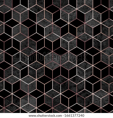 Vector seamless geometric sparkle pattern with gold foil and gray watercolor polygons. Metallic golden hexagon abstract texture on black background