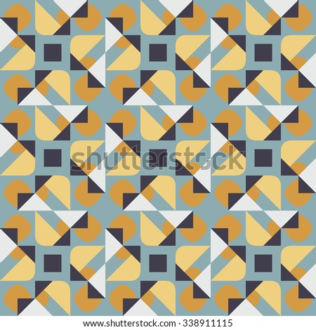 Aninimal Book: Vector Seamless Geometric Square Triangle Circle Shapes Yellow Blue Quilt Pattern ...