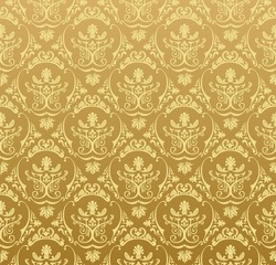 Vector seamless gold pattern with art ornament. Vintage elements for design in Victorian style. Ornamental lace tracery background. Ornate floral decor for wallpaper. Endless baroque texture