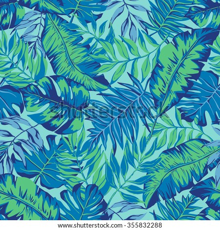 vector seamless graphical artistic hand drawn topical pattern, tropics, philodendron, palm leaf, banana leaf, fern frond, decorative, colorful, spring summer time, nature, original, fashionable