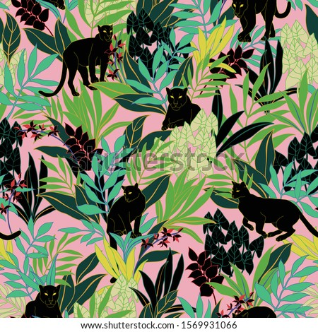 vector seamless graphical bold tropical pattern with vibrant contrasting colors. Black puma cat in foliage with orchid flowers on pale pink background. Green leaves. Vertical orientation