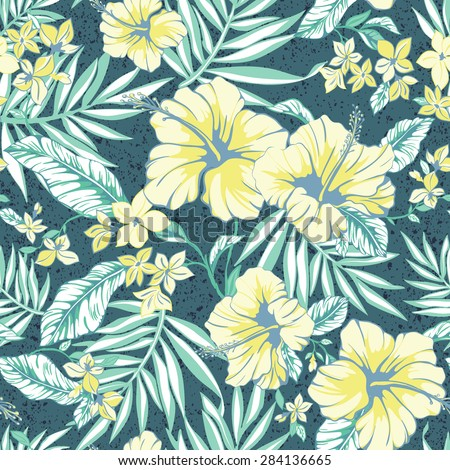 vector seamless graphical tropical hibiscus flowers with palm tree leaves pattern. summer. grunge texture. graphical background. fresh flower background.