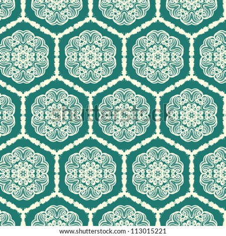 vector seamless green floral pattern background