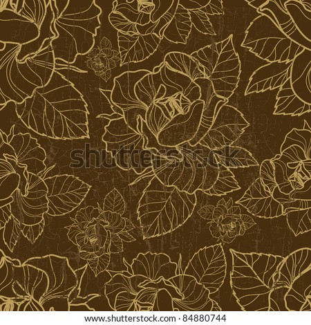 "Vector seamless grunge floral pattern with herbarium (from my big ""Floral collection"")"