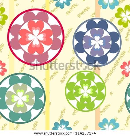 vector seamless grunge flowers