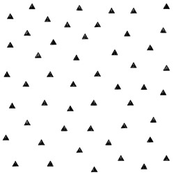 Vector seamless hand drawn black triangle pattern on white background.