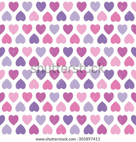 Vector seamless hipster background with hearts pattern in pink and purple. For baby shower, gift wrapping paper, textiles, scrapbooking.