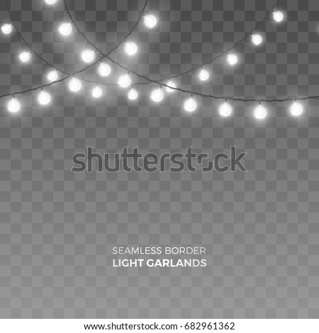 Vector seamless horizontal border of realistic light garlands. Festive decoration with shiny Christmas lights. Glowing white bulbs isolated on the transparent background.