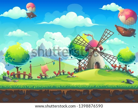 Vector seamless illustration background mill on the hill. For design websites and mobile phones, printing.