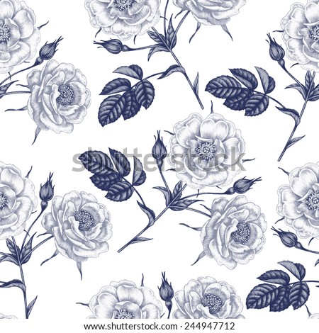 Vector seamless illustration of flowers on a white background. Floral ornament. Design for fabrics, textiles, paper, wallpaper, Internet. Victorian style. Roses. Vector.
