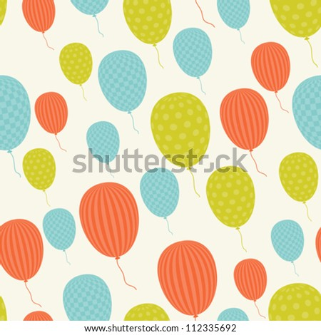 Vector seamless in retro style pattern, flying balloons.