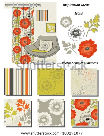 Vector Seamless Interior Patterns.  Use to create stunning textiles around the home or use the interior sketch to create your own.