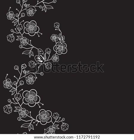 stock-vector-vector-seamless-japanese-black-white-background-vintage-wedding-pattern-delicate-frame-of-flowers