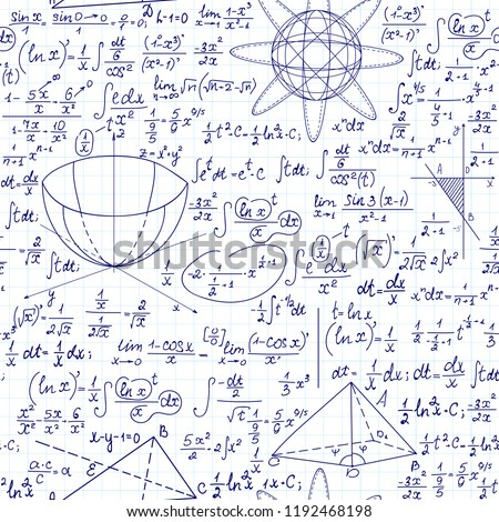 "Vector seamless math pattern with mathematical figures, calculations and formulas, ""handwritten on the grid paper"""