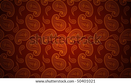 Vector seamless paisley gold and red wallpaper
