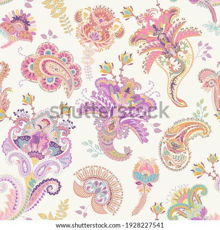 Vector seamless paisley pattern. Indian floral wallpaper. Good vibes colorful pattern. Decorative able pattern. Paisley design textile, print, fabric, decoupage, wrapping paper, invitation, web