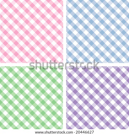 vector - Seamless Pastel Cross weave Gingham Pattern Tiles: pink, blue, green, lavender. EPS8 includes 4 pattern swatches (tiles) that will seamlessly fill any shape.