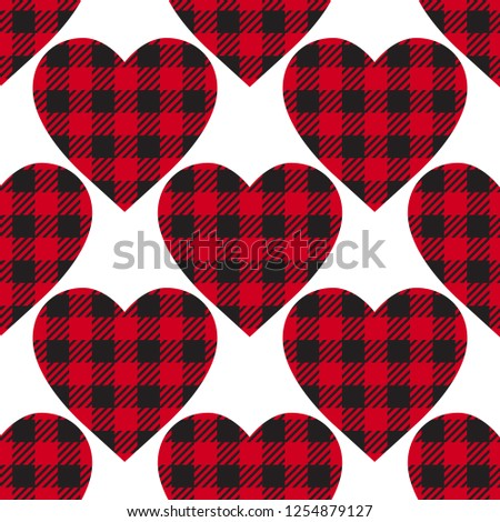 Vector seamless patern Cell Heart backgrounds red and black color. Abstract checkered backdrop fashion cloth cage isolated on white - Shutterstock ID 1254879127