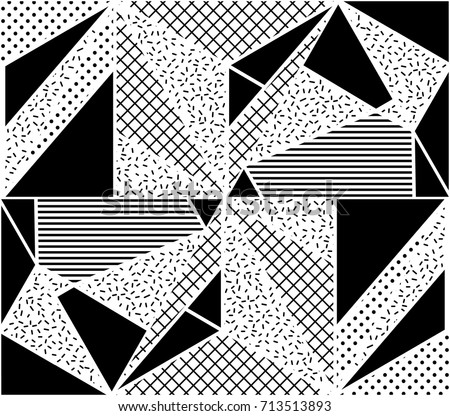 Vector Seamless Pattern. Abstract Geometric Black and White Doted Linear Triangle, Stylish Tiles with different ornament, Retro illustration. Simple background of perforated rhombus