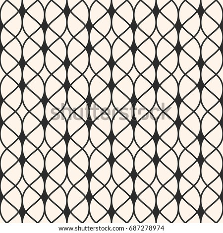 Vector seamless pattern. Abstract graphic monochrome background with thin wavy lines, delicate lattice. Subtle texture of mesh, lace, weaving, net. Repeat tiles. Design for decor, textile, fabric, web