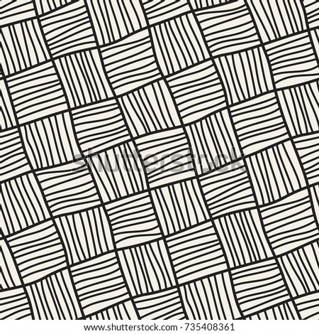 Vector seamless pattern. Abstract stylish background with hand drawn hatched squares.