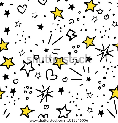 Vector Seamless Pattern. Backdrop for Boys Girls textiles wrapping paper. Summer Spring Mood. Stars Universal Pattern. Modern Background Design. Bright Images