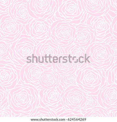Vector seamless pattern background with outline stylized roses. Beautiful floral background. Can be used for textile, website background, book cover, packaging, wedding invitation