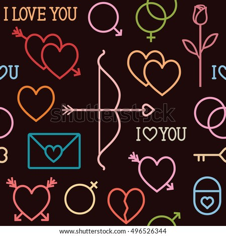 Vector seamless pattern background with romantic love outline icons 2