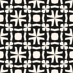 Vector seamless pattern. Black and white floral ornamental background, repeat geometric tiles, curved lines. Abstract monochrome ornament texture. Elegant design for decor, fabric, covers, textile