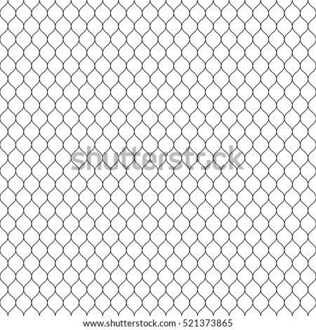 Vector seamless pattern, black thin wavy lines on white backdrop. Illustration of mesh, fishnet, lace. Subtle monochrome background, simple repeat texture. Design for prints, decoration, web, textile