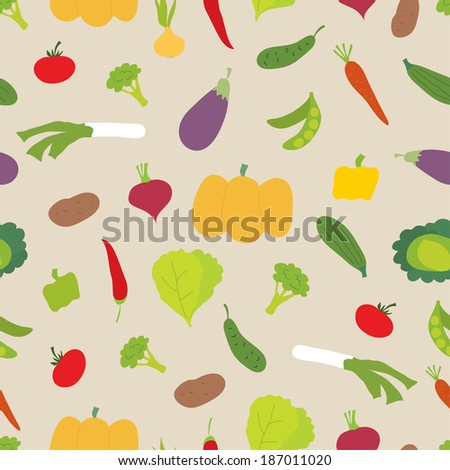Vector seamless pattern. Bright vegetables on light background. Can be used for textile, wallpaper, wrapping. #187011020