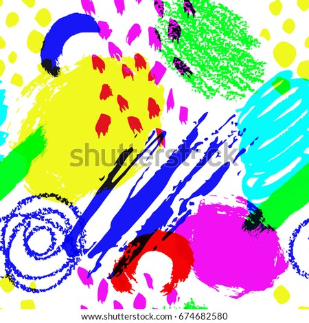 Vector seamless pattern brush stripes and strokes. Yellow green blue pink color on white background. Hand painted grange texture. Ink geometric elements. Fashion modern fabric summer abstract print.