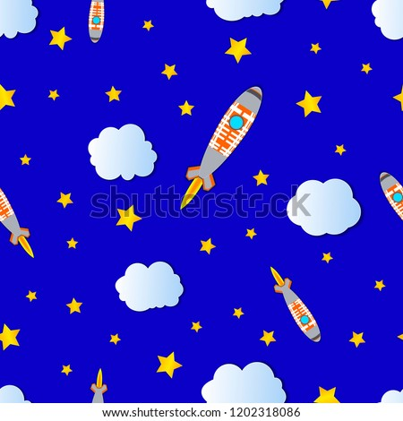 Vector Seamless Pattern: Cartoon Space, Cloudy and Starry Bright Blue Sky with Space Shuttles.