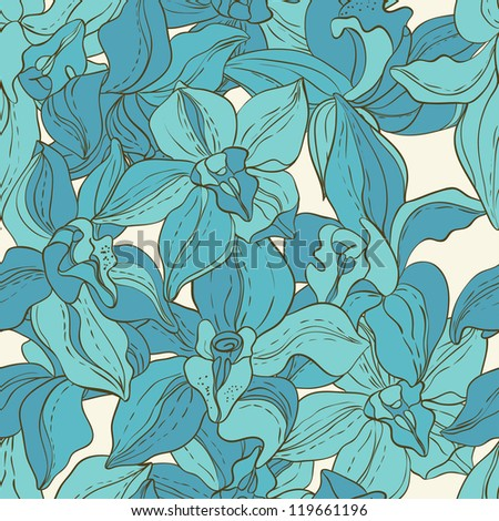 Vector Seamless pattern consist of Flowers. Blue Orchid