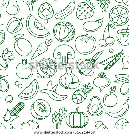 Vector seamless pattern consisting of contour icons of fruits and vegetables on a white background
