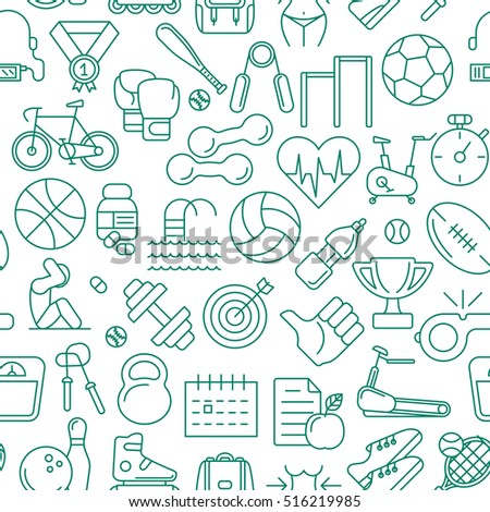 Vector seamless pattern consisting of contour icons of sports and fitness subjects on a white background