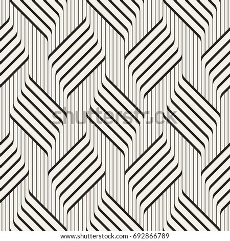Vector seamless pattern. Contemporary stylish texture. Geometric striped ornament. Monochrome bold striped braids.