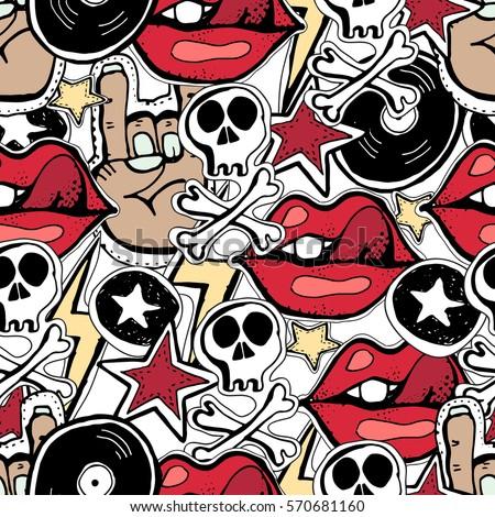Vector seamless pattern. Crazy punk rock abstract background. Skulls, pins, guitars, rock symbols, disk, stars,lips.