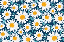 Vector seamless pattern. Creative floral print with chamomile flowers, leaves in a hand-drawn style on a dark blue-turquoise background. Perefct spring/summer template for fashion design, textiles...
