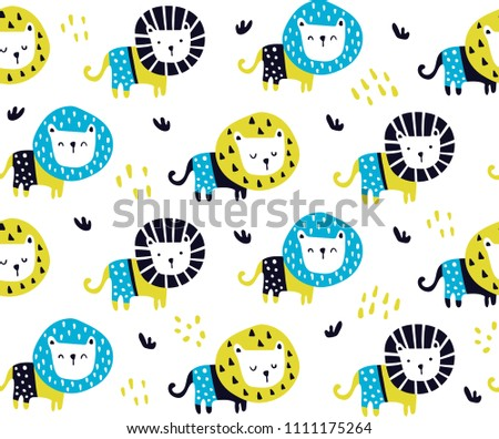 vector seamless pattern, cute lions in scandinavian style