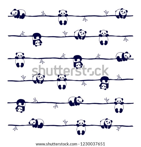 vector seamless pattern cute little Panda bear in different poses, on white background