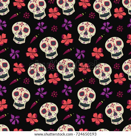 Funny Seamless Pattern With Skulls