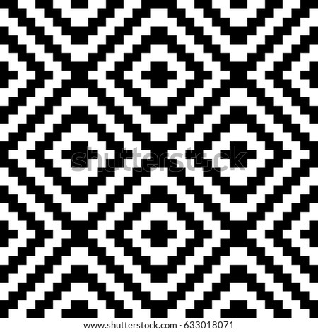 Vector seamless pattern. Decorative element, design template with black white diagonal zigzag line. Background, optical art texture with knitted woolen handicraft. Fabric, textile, tracery, swatch.