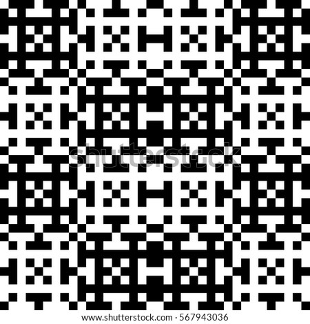 Vector seamless pattern. Decorative element, design template with pixel black and white motifs. Ethnic folk national tracery for fabric swatch. Background, texture with optical illusion effect.