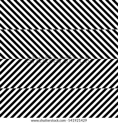 Vector seamless pattern. Decorative element, design template with striped black and white diagonal inclined lines. Background, texture with optical illusion effect. Dynamic tiles in op art style.