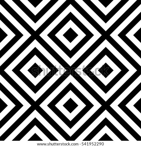Vector seamless pattern. Decorative element, design template with striped black and white diagonal inclined lines. Background, texture with optical illusion effect. Moving tiles in op art style